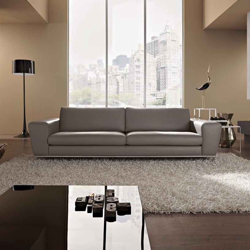 Aria designer grey leather sofa for Modern leather furniture