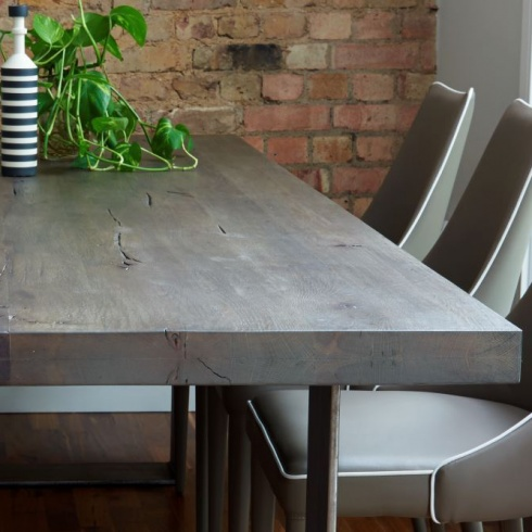 Modena Distressed Wood Metal Dining Table